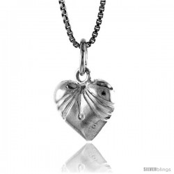 Sterling Silver Small Heart Pendant, 1/2 in Tall