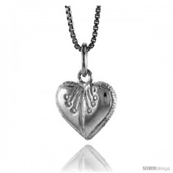 Sterling Silver Heart Pendant, 1/2 in Tall -Style 4p979