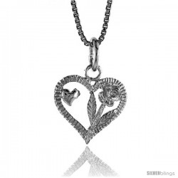 Sterling Silver Heart Pendant, 1/2 in Tall -Style 4p980