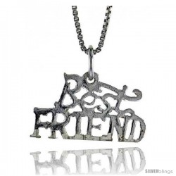 Sterling Silver Best Friend Talking Pendant, 1/2 in Tall -Style 4p983