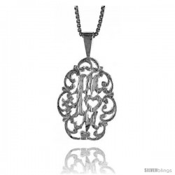 Sterling Silver No. 1 Mom Talking Pendant, 3/4 in Tall -Style 4p988