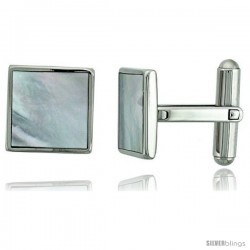 Stainless Steel Square Shape Cufflinks w/ Natural Mother of Pearl Inlay, 1/2 x 1/2 in