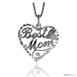 Sterling Silver Best Mom Talking Pendant, 3/4 in Tall