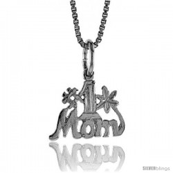 Sterling Silver No. 1 Mom Talking Pendant, 1/2 in Tall -Style 4p997