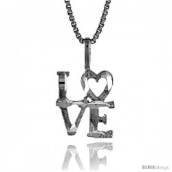 Sterling Silver Love Talking Pendant, 1/2 in Tall