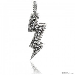 Sterling Silver Cubic Zirconia Lightning Bolt Pendant Micro Pave 7/8 in