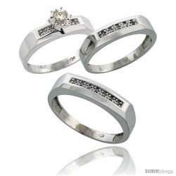 10k White Gold Diamond Trio Wedding Ring Set His 5mm & Hers 4.5mm -Style 10w109w3