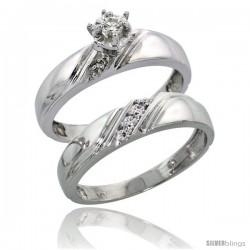 10k White Gold Ladies' 2-Piece Diamond Engagement Wedding Ring Set, 3/16 in wide -Style 10w110e2