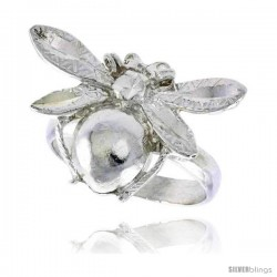 Sterling Silver Bumble Bee Ring Polished finish 5/8 in wide