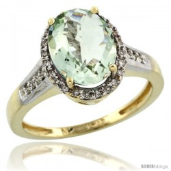 10k Yellow Gold Diamond Green-Amethyst Ring 2.4 ct Oval Stone 10x8 mm, 1/2 in wide