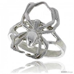 Sterling Silver Spider Ring Polished finish 11/16 in wide