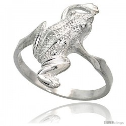 Sterling Silver Frog Ring Polished finish 3/4 in wide