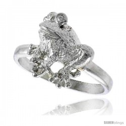 Sterling Silver Frog Ring Polished finish 1/2 in wide