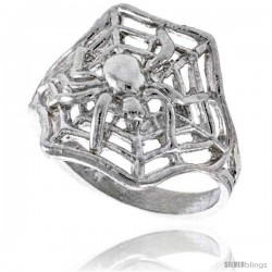Sterling Silver Spider with Spiderweb Ring Polished finish 5/8 in wide