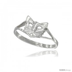 Sterling Silver Cat Ring Polished finish 5/16 in wide