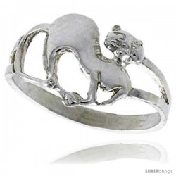 Sterling Silver Cat Ring Polished finish 3/8 in wide -Style Ffr520