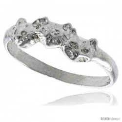 Sterling Silver Cat Ring Polished finish 3/16 in wide