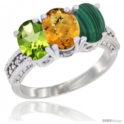 14K White Gold Natural Peridot, Whisky Quartz & Malachite Ring 3-Stone Oval 7x5 mm Diamond Accent