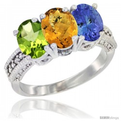 14K White Gold Natural Peridot, Whisky Quartz & Tanzanite Ring 3-Stone Oval 7x5 mm Diamond Accent