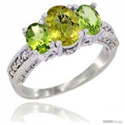 14k White Gold Ladies Oval Natural Lemon Quartz 3-Stone Ring with Peridot Sides Diamond Accent