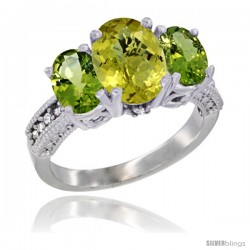 14K White Gold Ladies 3-Stone Oval Natural Lemon Quartz Ring with Peridot Sides Diamond Accent