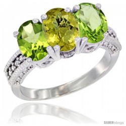 14K White Gold Natural Lemon Quartz & Peridot Sides Ring 3-Stone Oval 7x5 mm Diamond Accent