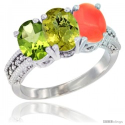 14K White Gold Natural Peridot, Lemon Quartz & Coral Ring 3-Stone Oval 7x5 mm Diamond Accent