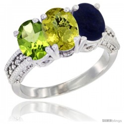 14K White Gold Natural Peridot, Lemon Quartz & Lapis Ring 3-Stone Oval 7x5 mm Diamond Accent