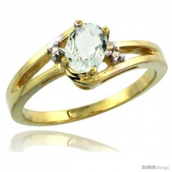 14k Yellow Gold Ladies Natural Green Amethyst Ring oval 6x4 Stone Diamond Accent -Style Cy402165