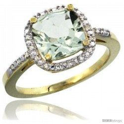 14k Yellow Gold Ladies Natural Green Amethyst Ring Cushion-cut 3.8 ct. 8x8 Stone Diamond Accent