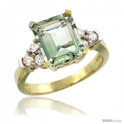 14k Yellow Gold Ladies Natural Green Amethyst Ring Emerald-shape 9x7 Stone Diamond Accent