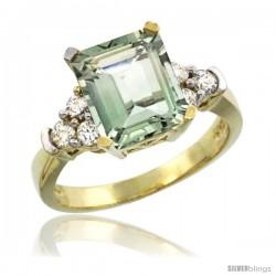 14k Yellow Gold Ladies Natural Green Amethyst Ring Emerald-shape 9x7 Stone Diamond Accent