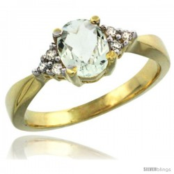 14k Yellow Gold Ladies Natural Green Amethyst Ring oval 7x5 Stone Diamond Accent -Style Cy402168