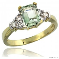 14k Yellow Gold Ladies Natural Green Amethyst Ring Emerald-shape 7x5 Stone Diamond Accent