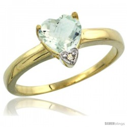 14k Yellow Gold Ladies Natural Green Amethyst Ring Heart-shape 8x8 Stone Diamond Accent