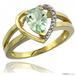 14k Yellow Gold Ladies Natural Green Amethyst Ring Heart-shape 5 mm Stone Diamond Accent