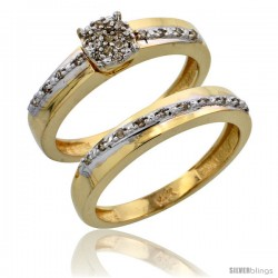 10k Gold 2-Piece Diamond Engagement Ring Set, w/ 0.22 Carat Brilliant Cut Diamonds, 1/8 in. (3.5mm) wide