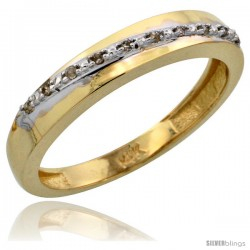 10k Gold Ladies' Diamond Band, w/ 0.08 Carat Brilliant Cut Diamonds, 1/8 in. (3.5mm) wide