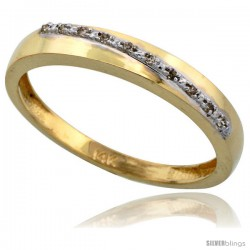 10k Gold Men's Diamond Band, w/ 0.08 Carat Brilliant Cut Diamonds, 1/8 in. (3.5mm) wide