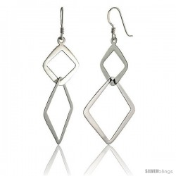 "Sterling Silver Double Diamond Cut Outs Dangle Earrings, 1 3/4"" (45 mm) tall"