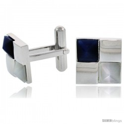 Stainless Steel Checkerboard Cufflinks, w/ Blue & White Pyramid Stones, 1/2 in (14 mm)
