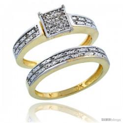 10k Gold 2-Piece Diamond Engagement Ring Band Set w/ 0.21 Carat Brilliant Cut Diamonds, 1/8 in. (3.5mm) wide