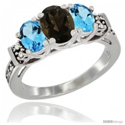 14K White Gold Natural Smoky Topaz & Swiss Blue Topaz Ring 3-Stone Oval with Diamond Accent