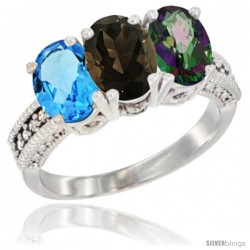 14K White Gold Natural Swiss Blue Topaz, Smoky Topaz & Mystic Topaz Ring 3-Stone 7x5 mm Oval Diamond Accent