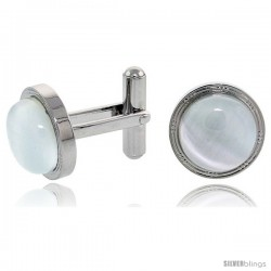 Stainless Steel Cufflinks with Cabochon Moonstone, 5/8 in (16 mm)