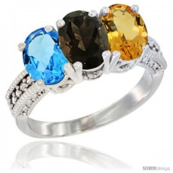 14K White Gold Natural Swiss Blue Topaz, Smoky Topaz & Citrine Ring 3-Stone 7x5 mm Oval Diamond Accent