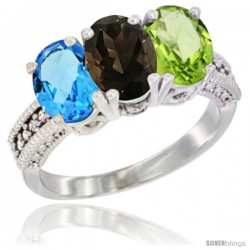 14K White Gold Natural Swiss Blue Topaz, Smoky Topaz & Peridot Ring 3-Stone 7x5 mm Oval Diamond Accent