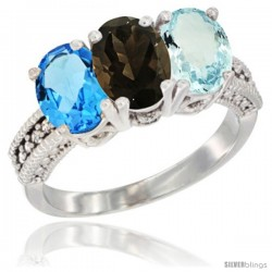 14K White Gold Natural Swiss Blue Topaz, Smoky Topaz & Aquamarine Ring 3-Stone 7x5 mm Oval Diamond Accent