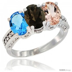 14K White Gold Natural Swiss Blue Topaz, Smoky Topaz & Morganite Ring 3-Stone 7x5 mm Oval Diamond Accent