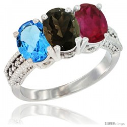14K White Gold Natural Swiss Blue Topaz, Smoky Topaz & Ruby Ring 3-Stone 7x5 mm Oval Diamond Accent